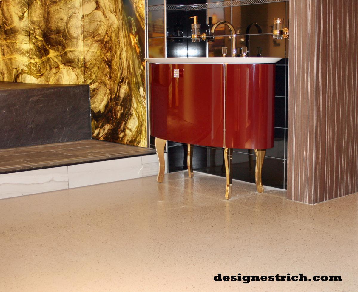 designestrich sichtestrich in der exclusiven badausstellung am kurf rstendamm in berlin. Black Bedroom Furniture Sets. Home Design Ideas